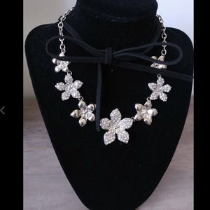Silver black rhinestone floral necklace choker